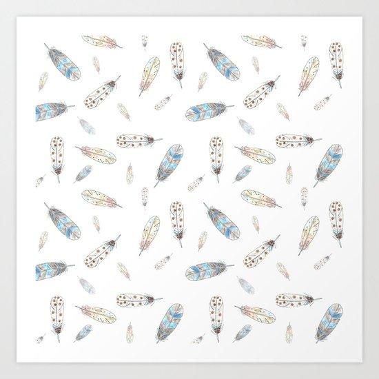 Watercolor feathers print Art Print