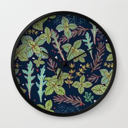dark herbs pattern Wall Clock
