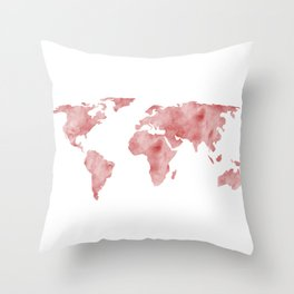World Map Light Red Watercolor Throw Pillow