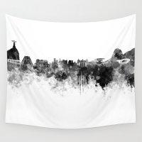 rio de janeiro Wall Tapestries featuring Rio de Janeiro skyline in black watercolor by Paulrommer