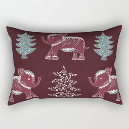 Elephants, trees and flowers Rectangular Pillow
