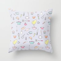 cooking Throw Pillows featuring Cooking Pattern by Little Holly Berry