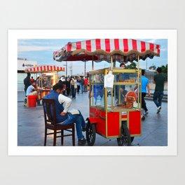 Pretzel Cart - Istanbul, Turkey Art Print
