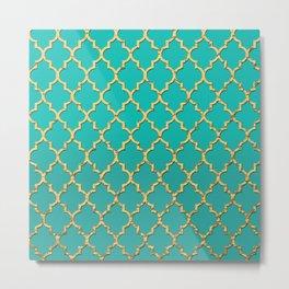 Gold Morrocan Quatrefoil on Turquoise Metal Print