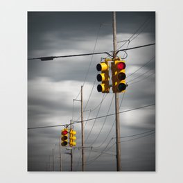Waiting for the Traffic Light watching Gray Clouds flow by Canvas Print