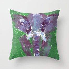 Abstract Elephant Green and Purple Throw Pillow