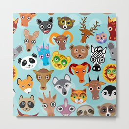 Seamless pattern cute face funny animals on blue background. Vector Metal Print