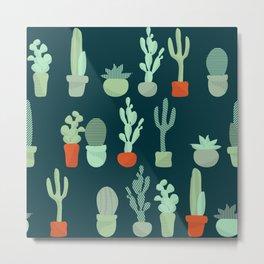 Line of Cacti Metal Print