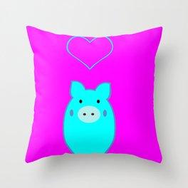 Blue Pig in Love Throw Pillow