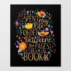Folded Between the Pages of Books - Floral Black Canvas Print