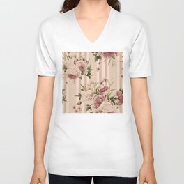 Flowers and Stripes Two Unisex V-Neck