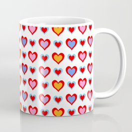 Colorful Valentine Hearts Pattern Coffee Mug