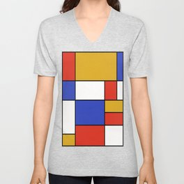 Abstract #401 Mondriaan #8 Unisex V-Neck