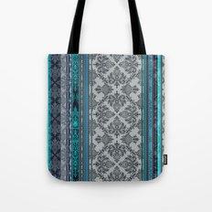 Teal, Aqua & Grey Vintage Bohemian Wallpaper Stripes Tote Bag