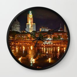 Summer Waterfire at Waterplace Park - Providence, Rhode Island Wall Clock