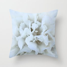 White scabiosa closeup flower Throw Pillow
