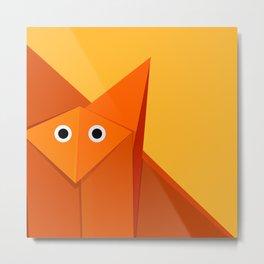 Geometric Cute Origami Fox Portrait Metal Print