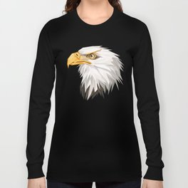 Triangular Geometric American Bald Eagle Head Long Sleeve T-shirt