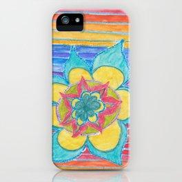 Joy - flower mandala with rainbow iPhone Case