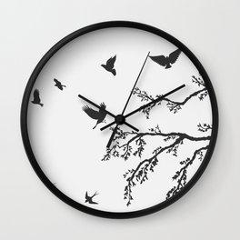 flock of flying birds on tree branch Wall Clock