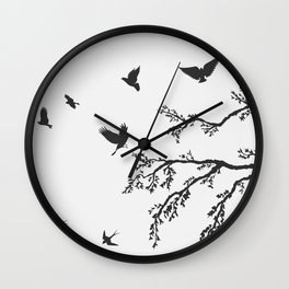 flock of flying birds on tree branch Wall Clock