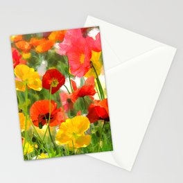 Cute poppies summer meadow watercolor painting Stationery Cards