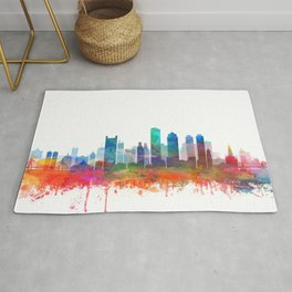 Boston Skyline Watercolor Print by Zouzounio Art Rug