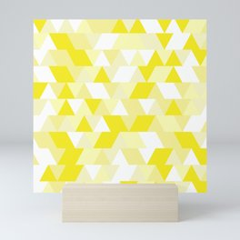 Simple Geometric Triangle Pattern - White on Yellow - Mix & Match with Simplicity of life Mini Art Print