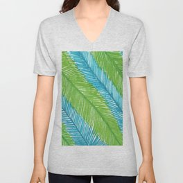 Blue and Green Palm Leaves Unisex V-Neck