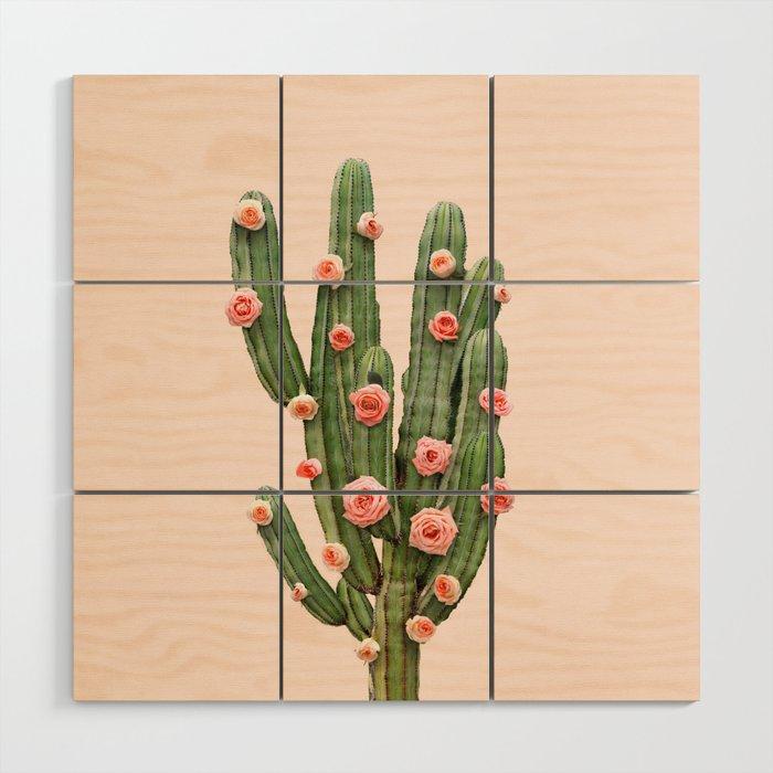 CACTUS AND ROSES Wood Wall Art