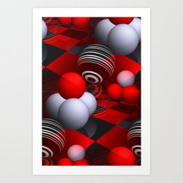 3D pattern  in red, white and black -01- Art Print