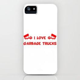 I Love Garbage Trucks Red iPhone Case