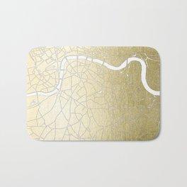 Gold on White London Street Map II Bath Mat