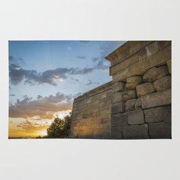 Sunset on egyptian Debod Temple in Madrid Rug