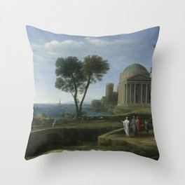 Landscape with Aeneas at Delos by Claude Throw Pillow