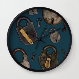 Vintage Padlocks & Keys on Teal Wall Clock