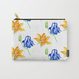 Columbine and Lily Hand Painted Diagonally Repeating Floral Pattern Carry-All Pouch