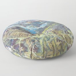 Heinrich Berann - Panoramic Painting Yellowstone National Park (1991) Floor Pillow