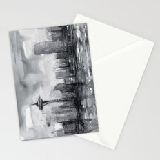 Seattle Skyline Painting Watercolor Black and White Space Needle Stationery Cards