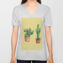 Cactus on Yellow Unisex V-Neck