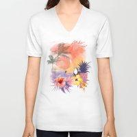 aloha V-neck T-shirts featuring aloha by ulas okuyucu