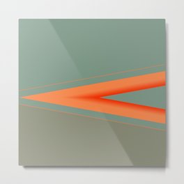 Army Green Orange Stripe Metal Print