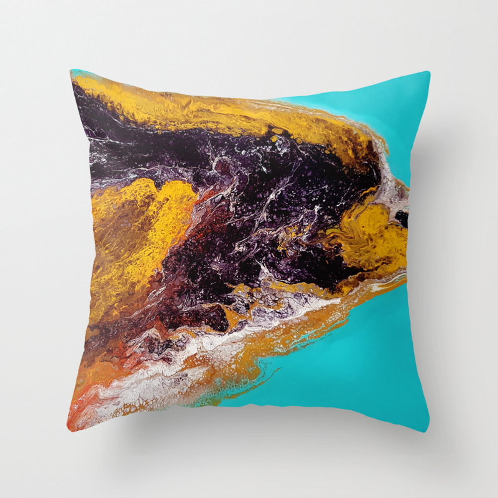 Dolphin, Acrylic Durty Cup, Abstract Throw Pillow by Katia1980 PLW7923890