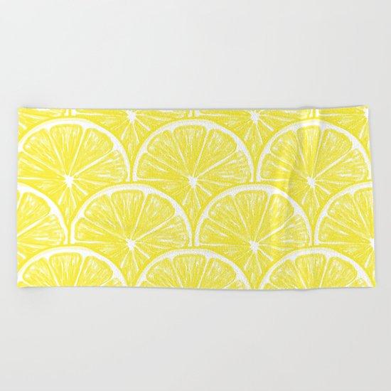 Lemon slices pattern design II Beach Towel