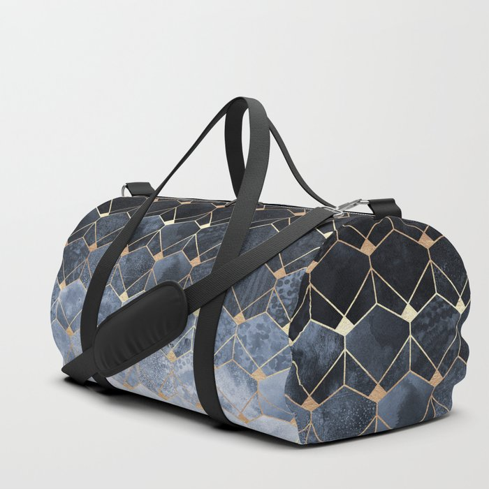 Blue Hexagons And Diamonds Duffle Bag