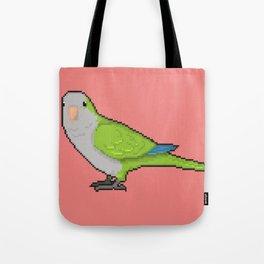Pixel / 8-bit Parrot: Green Quaker Parrot Tote Bag