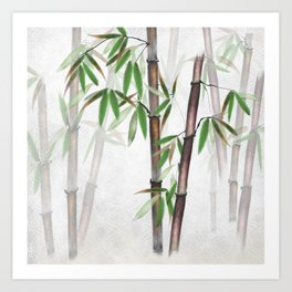 Bamboo Forest on patterned cloth Art Print