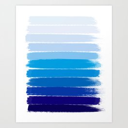 Kent - blue ombre brush strokes art Art Print