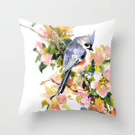 Titmouse Bird and Spring Blossom, floral pink green spring colors Throw Pillow