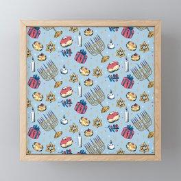Hanukkah Festival of Lights Pattern Gift Framed Mini Art Print